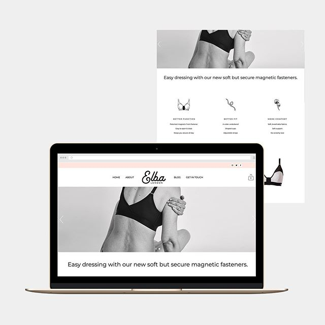 One my latest projects is going #live. Judith at @elbalondon came to me in 2018 looking for an online home for her fledgling lingerie startup. The design process hasn't even been finished at that point but we put together a small introductory site. - - Now the production and manufacturing process is well underway, the site has been totally overhauled with added pages, better functionality, a tweaked colour palette, lovely product photography and advanced e-commerce facilities! - - Shout out to @lemonandbirch for the icons! - - I've got a few summer slots open for full builds. Currently working with a local artist followed by a photographer in New Zealand! - - Take a look on my website to check out more images from the Elba launch!