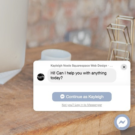 Would you like to be able to connect with your website visitors through Facebook messenger?? I've got code installed on my Squarespace site so that you can ask me any questions without having to write an email or go looking for me on social media!  I'm installing these for clients too (in brand colours of course!) so if you have a squarespace site, get in touch to get yours too!!
