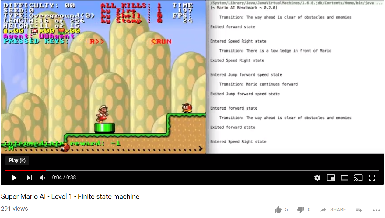 """The way ahead is clear of obstacles and enemies - """"There is a low ledge in front of Mario""""""""Mario continues forward""""""""There is a block in front of Mario""""""""Mario continues forward""""""""Mario jumps off a ledge/Over a gap""""""""There is a goomba ahead of Mario on a lower platform"""""""