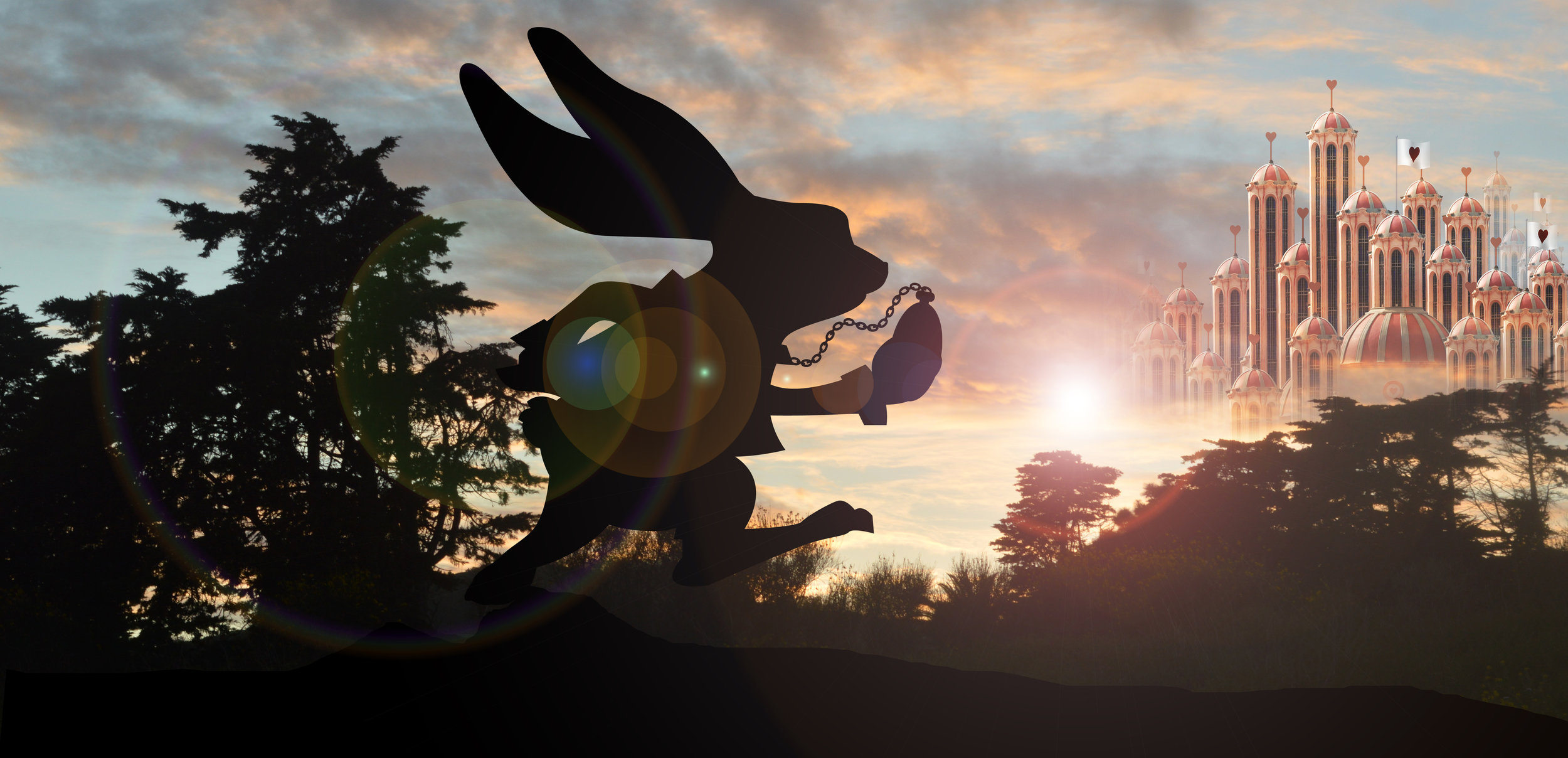 silhouette of White rabbit running with heart palace in background