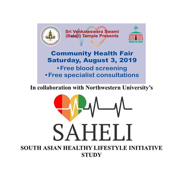 We are currently recruiting in Naperville and Aurora! Please join us for a free health screening on August 3rd at the Balaji Temple from 8am-2pm! #balajitemple #southasianhealth #sahelistudy #healthscreening