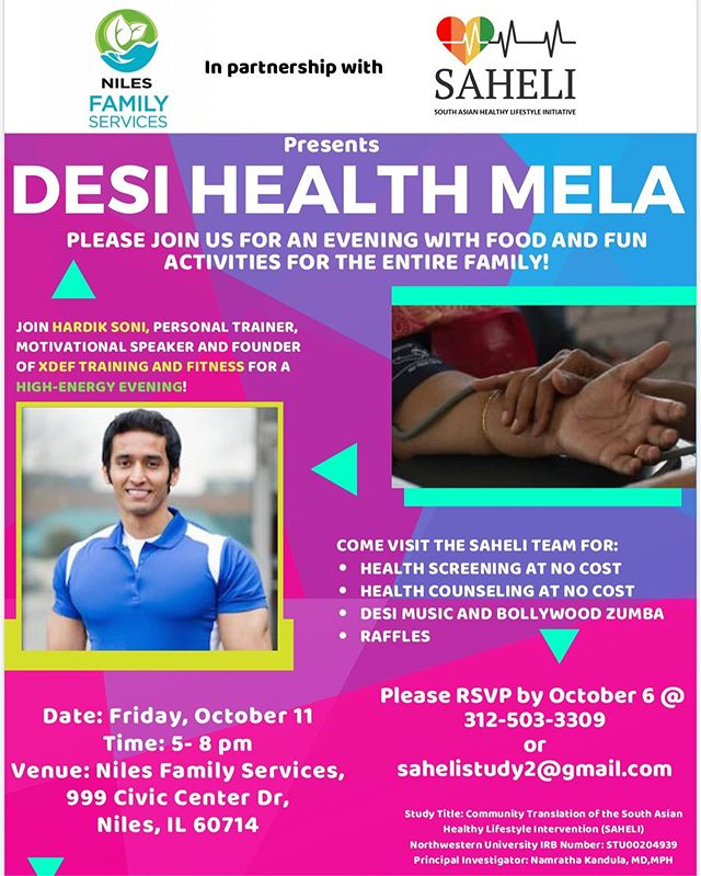 Join us this October for our first annual Desi Health Mela at Niles Familes Services! Come have food, fun, and join in on festivities with the SAHELI & Niles team! #sahelistudy #southasianhealth #niles