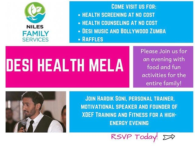 Join us October 11th for our first annual Desi Health Mela at Niles Familes Services! Come have food, fun, and join in on festivities with the SAHELI & Niles team! #sahelistudy #southasianhealth #niles
