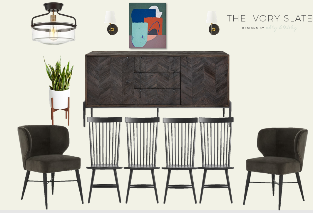Dining room mood board prepared during the design process