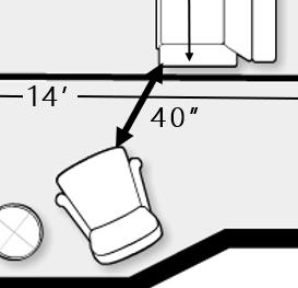 """Diagram of 36"""" minimum spacing between seating pieces"""