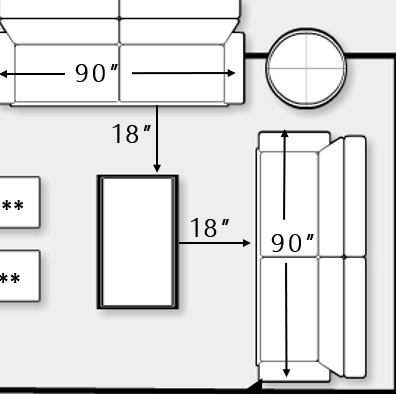Diagram of couch, coffee table spacing