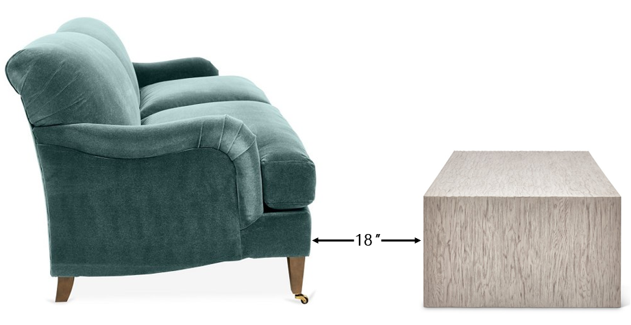 Diagram of couch and coffee table spacing