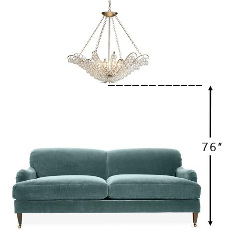 Diagram of overhead spacing for chandelier