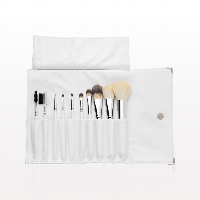 10-piece professional brush   set has all the necessary tools for flawless makeup application. This set conveniently comes packaged in a luxurious white leatherette fold and snap case.   Special Tip:  Cleaning your Brushes.To clean your brushes quickly between makeup applications, simply mist the hairs of your brush with our   All Natural Brush Cleaner   and let them set for about 30 seconds. Vigorously rub your brush across a clean cloth until clean. Be sure to clean your brushes with our   Anti-Bacterial Brush Shampoo   at least once a month. Let them air dry. This inhibits the growth of bacteria. Proper brush care will extend the life of your professional brushes.
