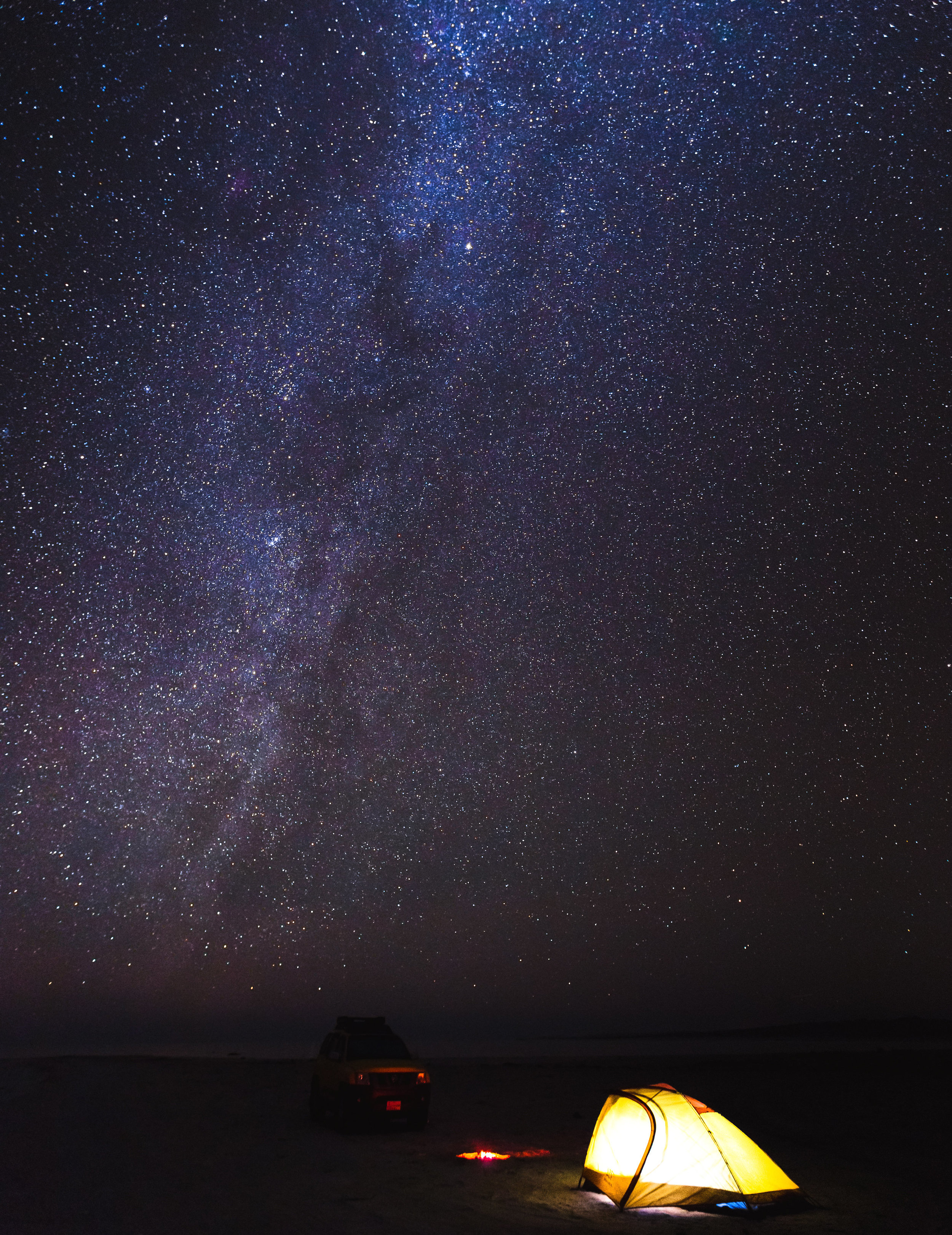 Travelers set up camp under the stars on the remote island of Masirah.