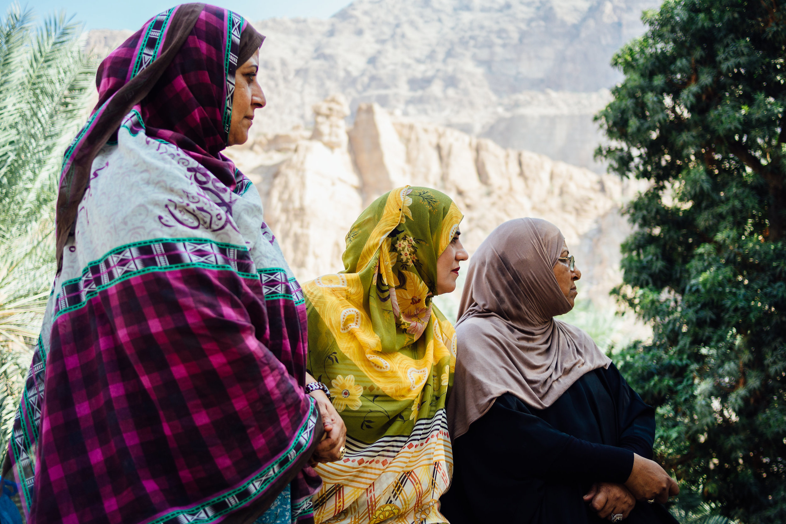 Women in Oman's rural areas often dress in bright colors.