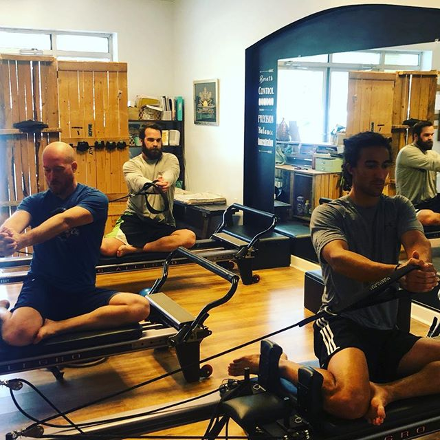 Did you know Pilates was invented by a man? I'd call this class man-lattes but honestly... the only thing I changed for the guys was the playlist. A balanced and core focused workout is beneficial to all body types.  #joesphpilates #balancedbodypilates #reformerpilates #pilatesocmd #fortheboys is the playlist on Spotify