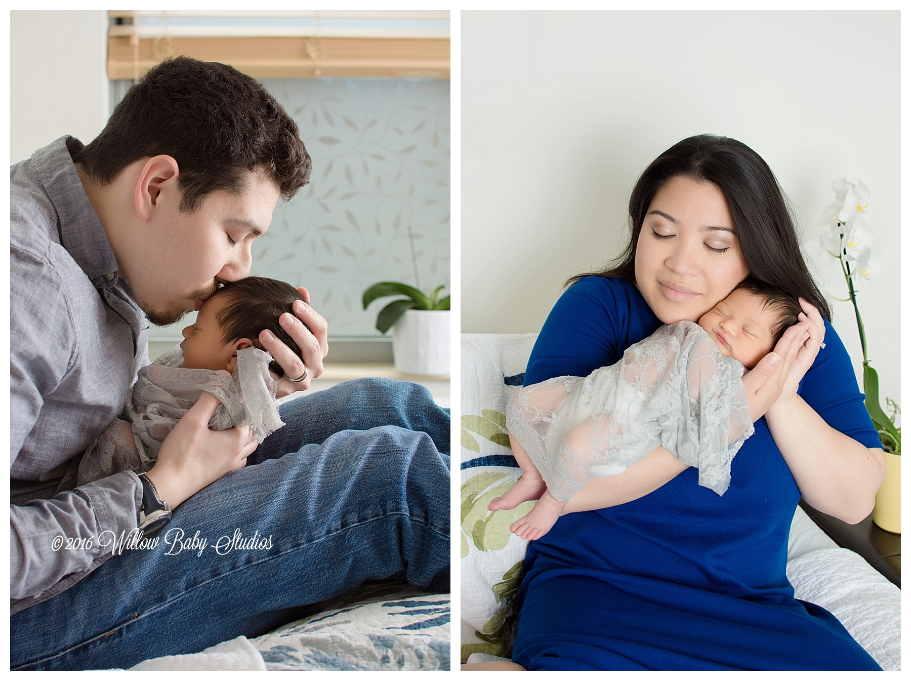 two-photos-dad-kissing-sleeping-baby-mom-snuggling