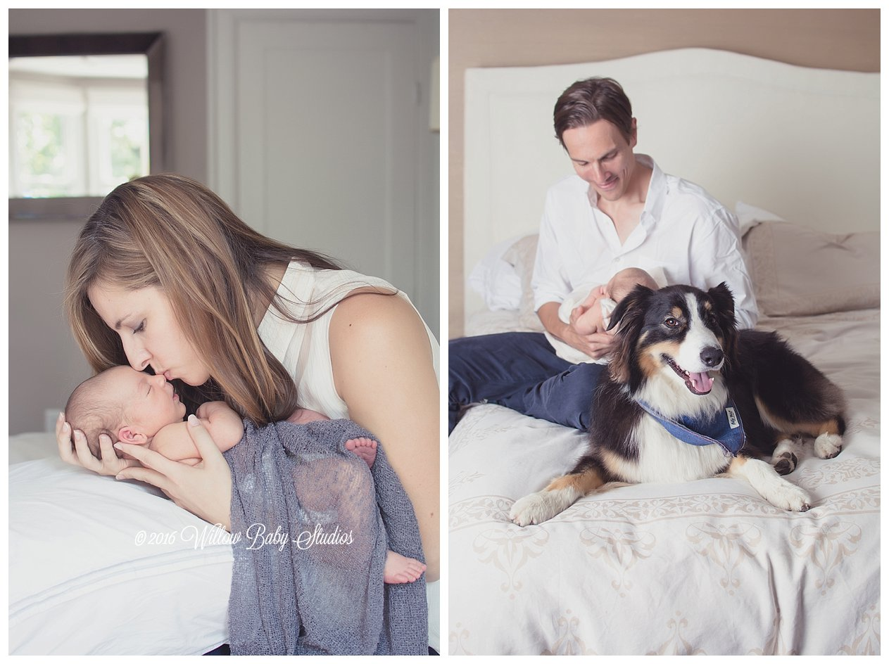 photo-set-momma-kissing-newborn-baby's-nose-and-daddy-and-dog-hanging-out-on-bed-with-newborn