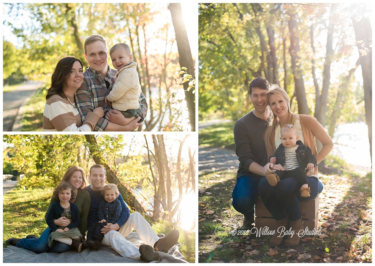 three photos of three different families hanging out in new england fall