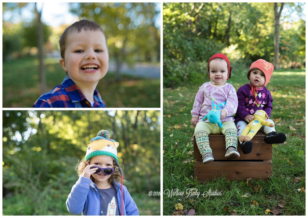 three photos showing different kids smiling outdoors