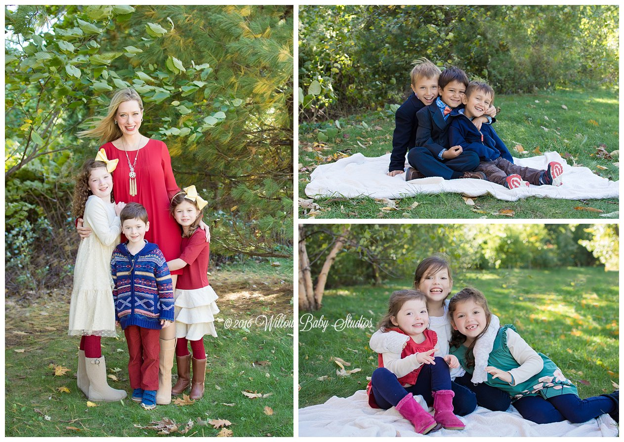 three different fall family and sibling photos