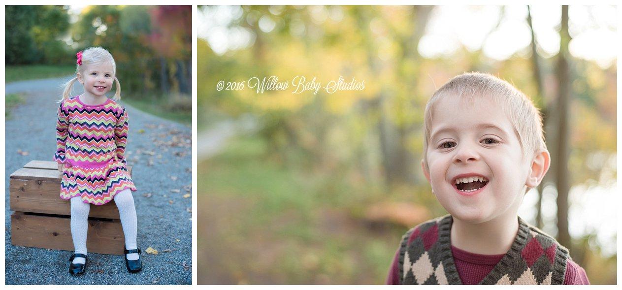 two photos of smiling kiddos