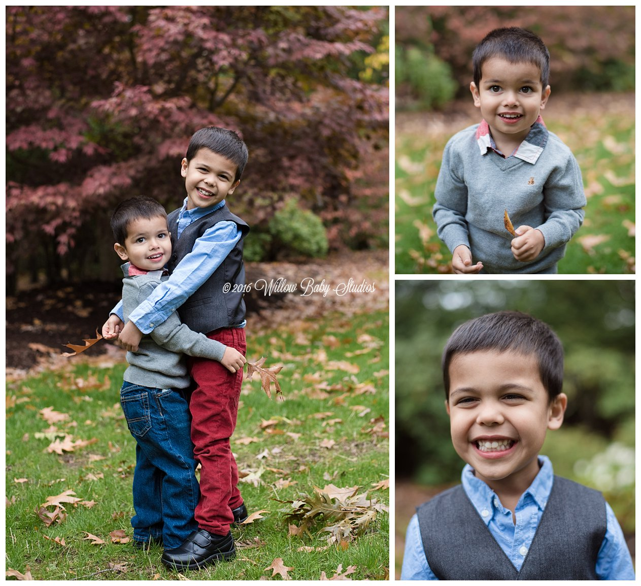 three photos of two brothers playing outside