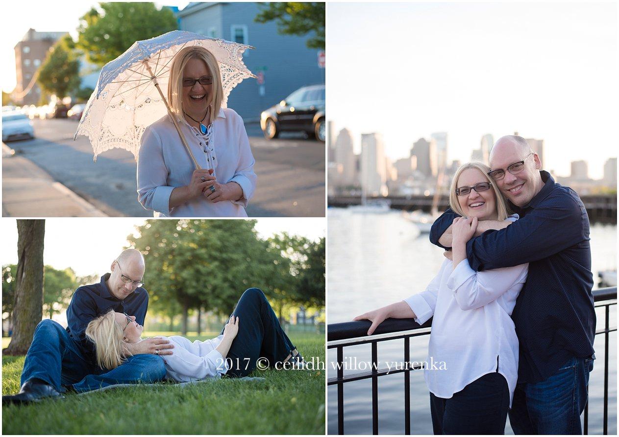 three photos near piers park boston couple being sweet