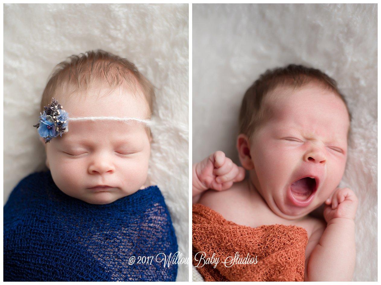 set of two photos - newborn baby yawning and sleeping