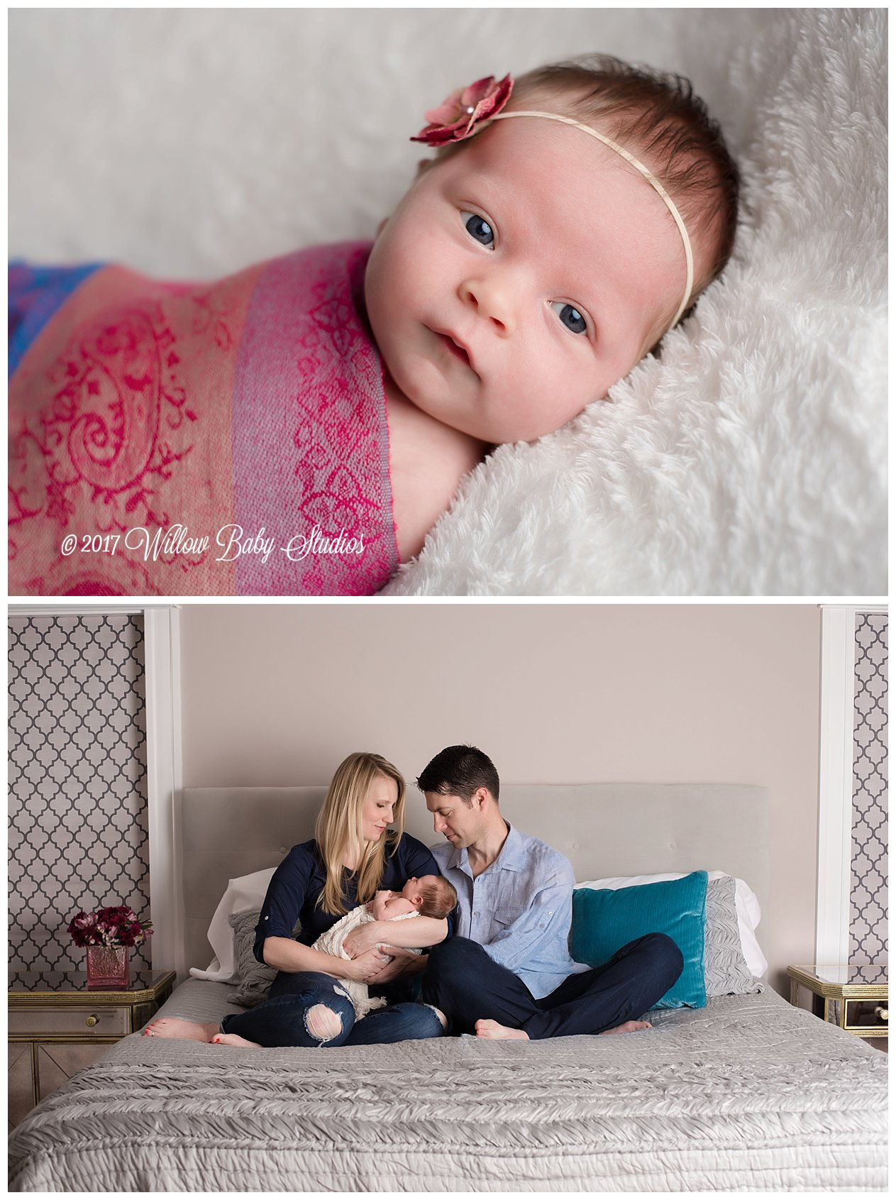 set of two photos awake newborn staring at the camera and parents gazing at their newborn baby