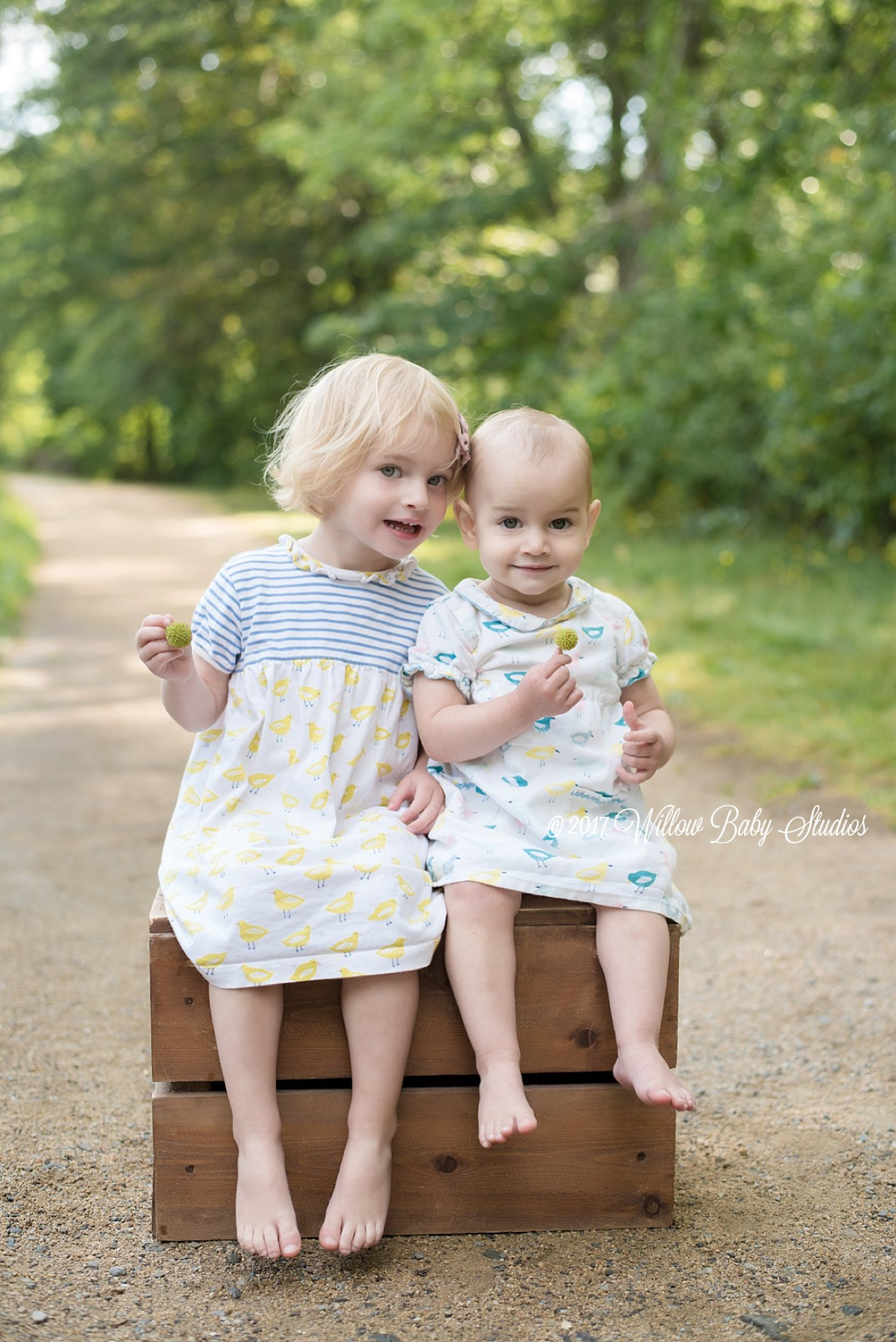 young sisters sitting on wooden box