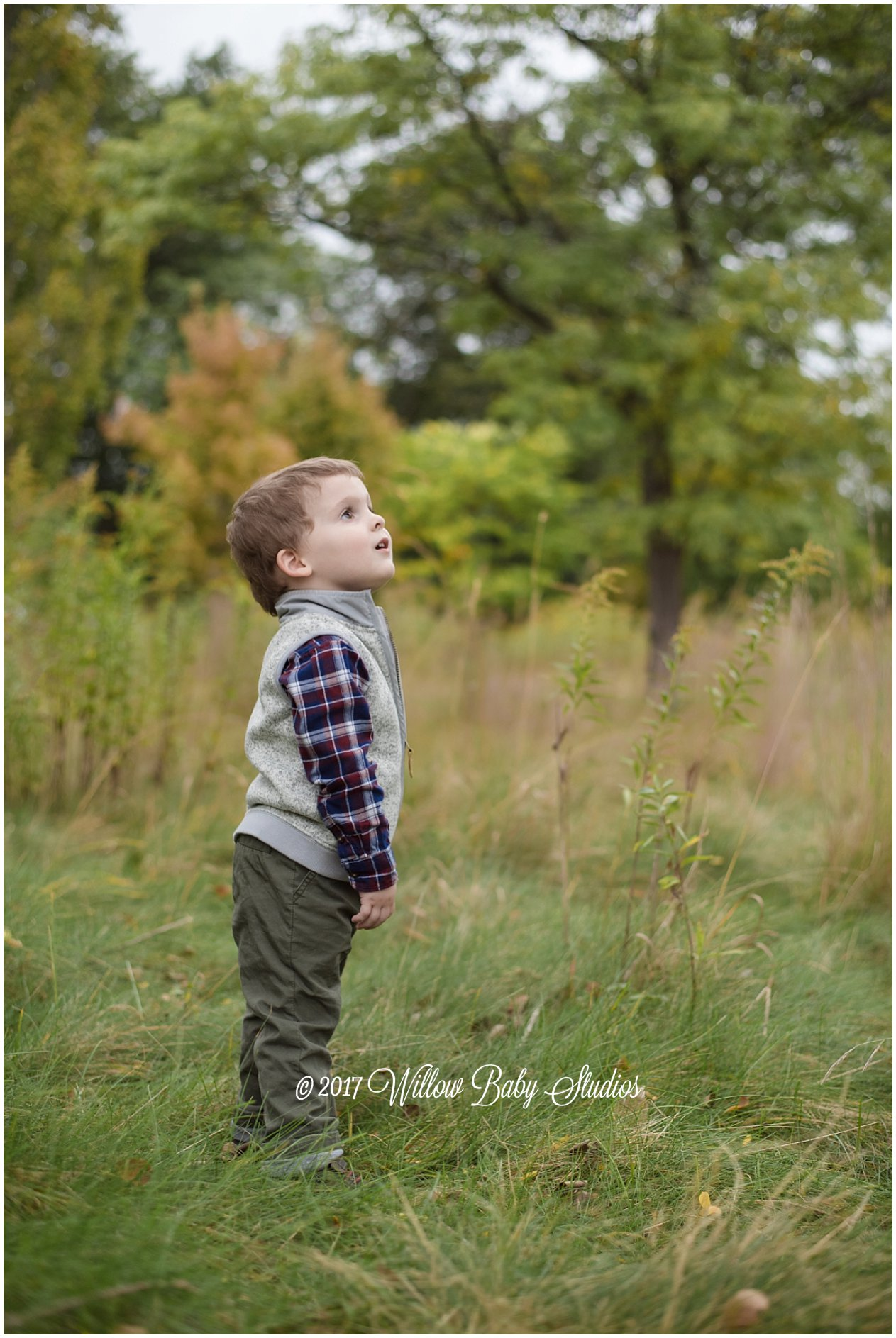 three year old on the edge of nature looking into the distance