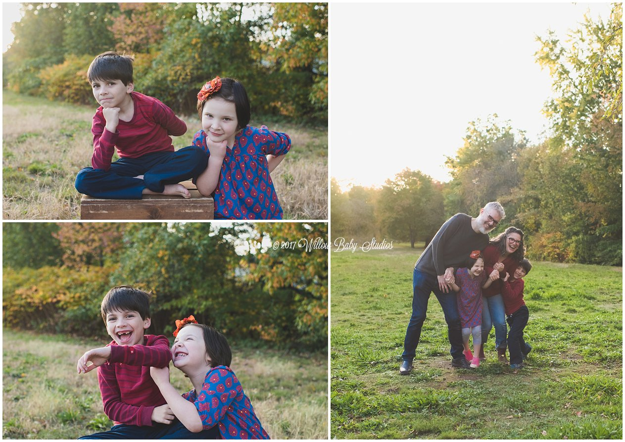 outdoor family and sibling photos in New England autumn