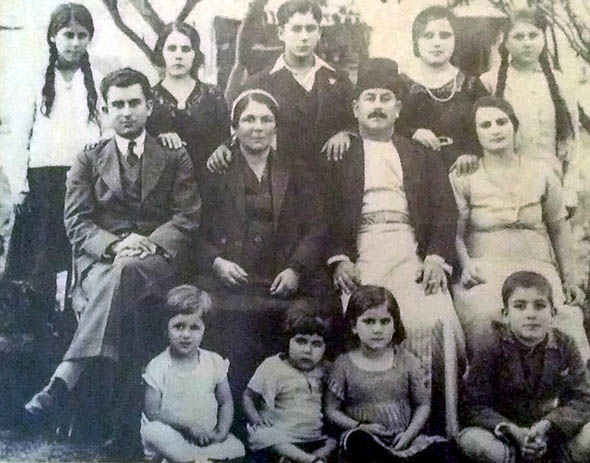 The Bathish family. The author's grandmother, the youngest of 11 children, is second from left in the front row. Circa 1936–37.
