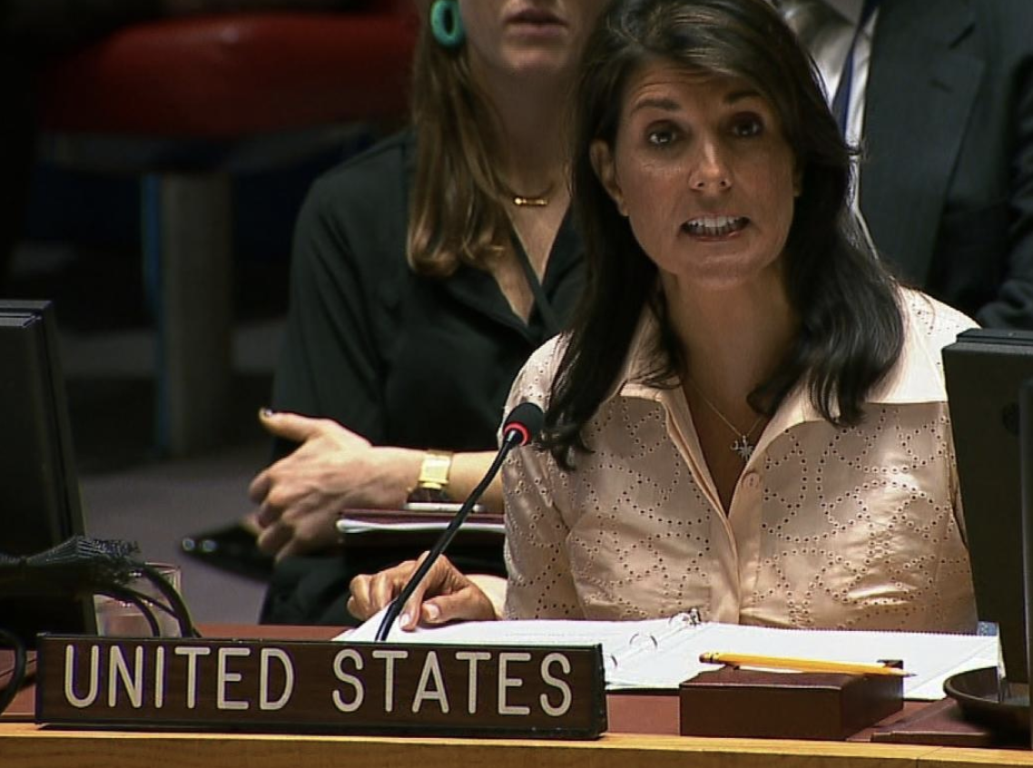 US Ambassador to the United Nations Nikki Haley speaking at a UN Security Council meeting concerning the violence at the border of Israel and the Gaza Strip, at United Nations headquarters, May 15, 2018 in New York City.