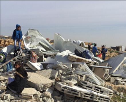 Demolition of two classrooms in Abu Nuwar community in Jerusalem on 4 February 2018. Photo by OCHA.