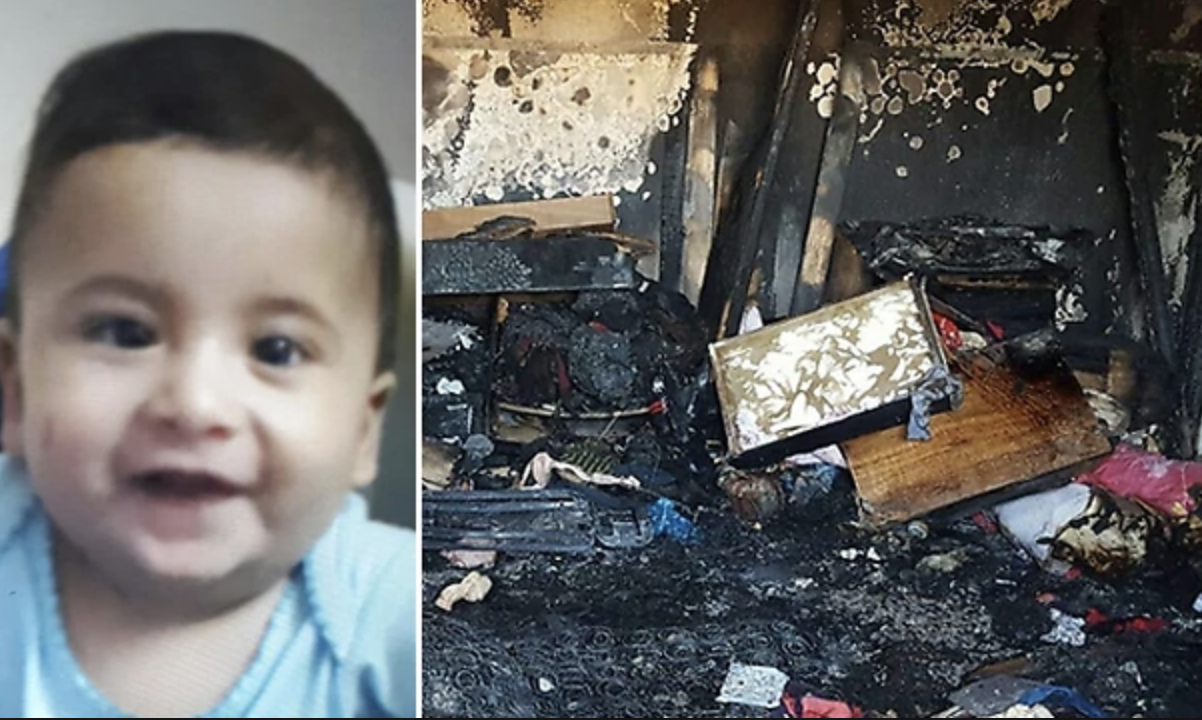 Ali Dawabsheh, the baby killed in the fire, and the damaged home.