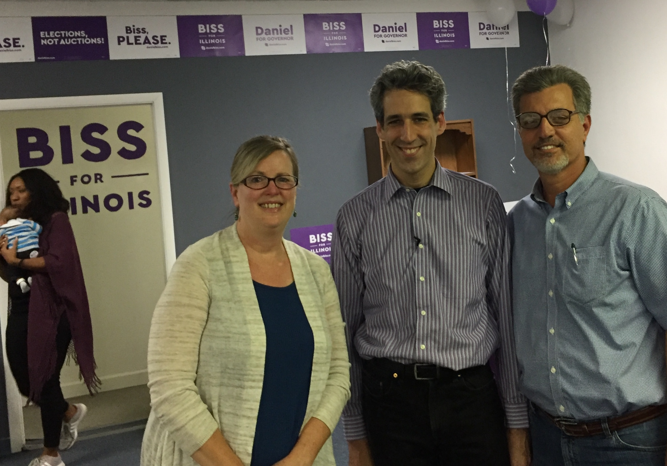 We appreciated having the opportunity to sit down with Illinois gubernatorial candidate Daniel Biss for about 45 minutes to talk about Palestine. He was very frank with us about his identity as a Jewish Zionist, but open to listening to the Palestinian point of view. (That may or may not be Letisa Wallace on the left.)