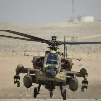 Israeli AH-64 Apache helicopter lands at the Ramon air force