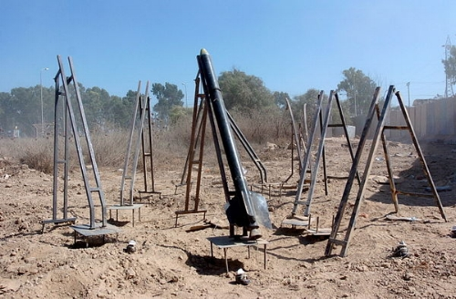 Eight Qassam launchers, seven equipped with operating systems and one armed and ready to launch, uncovered during an IDF operation in northern Gaza.