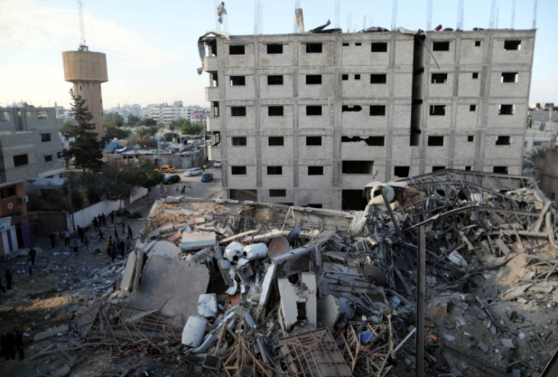 A view shows the remains of Al-Aqsa TV building, which was destroyed by Israeli air strikes, in Gaza City, November 13, 2018. REUTERS/Suhaib Salem
