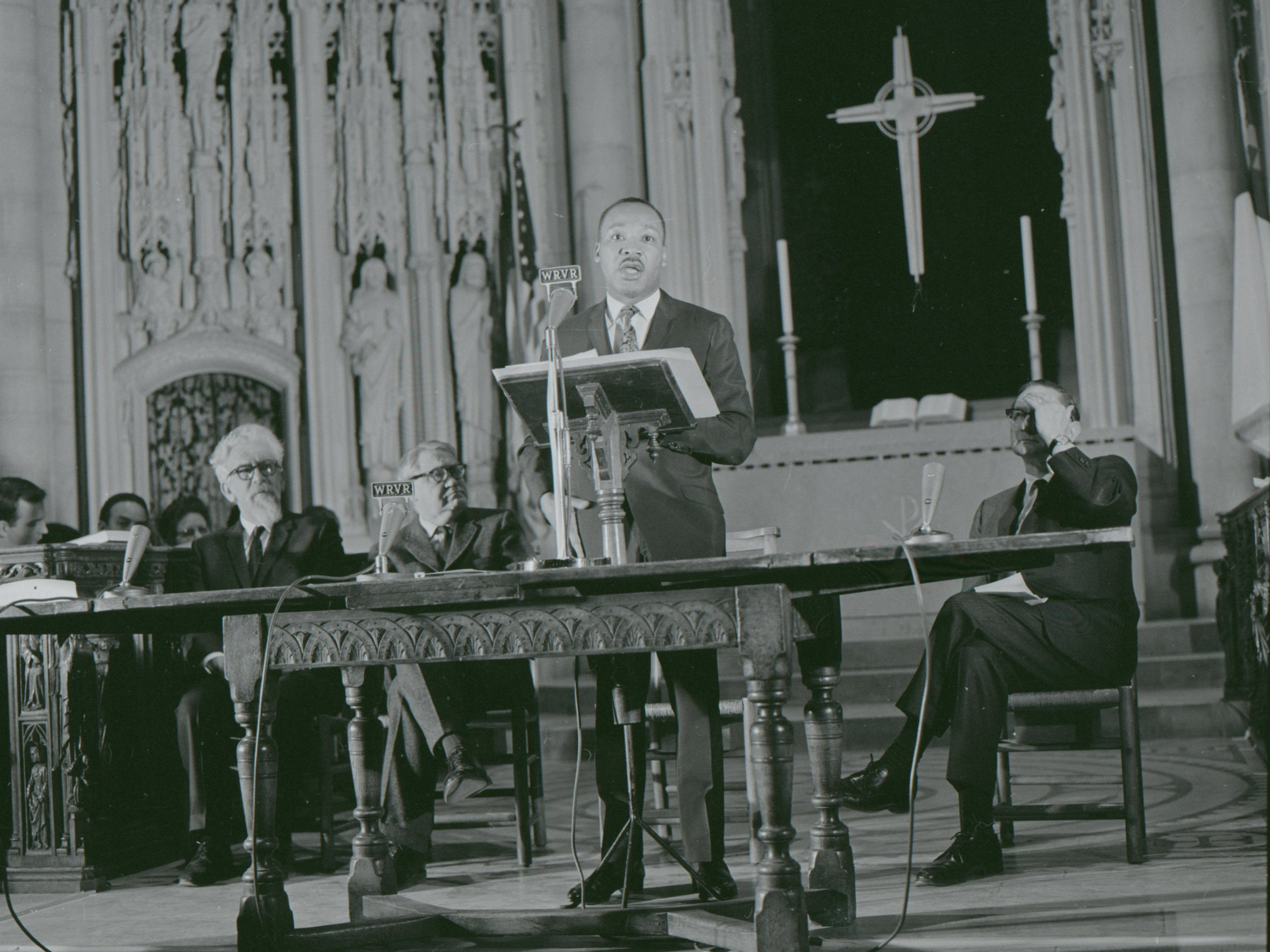 """We must speak with all the humility that is appropriate to our limited vision, but we must speak,"" the Rev. Dr. Martin Luther King Jr. declared at Riverside Church in Manhattan in 1967. (Credit: John C. Goodwin)"