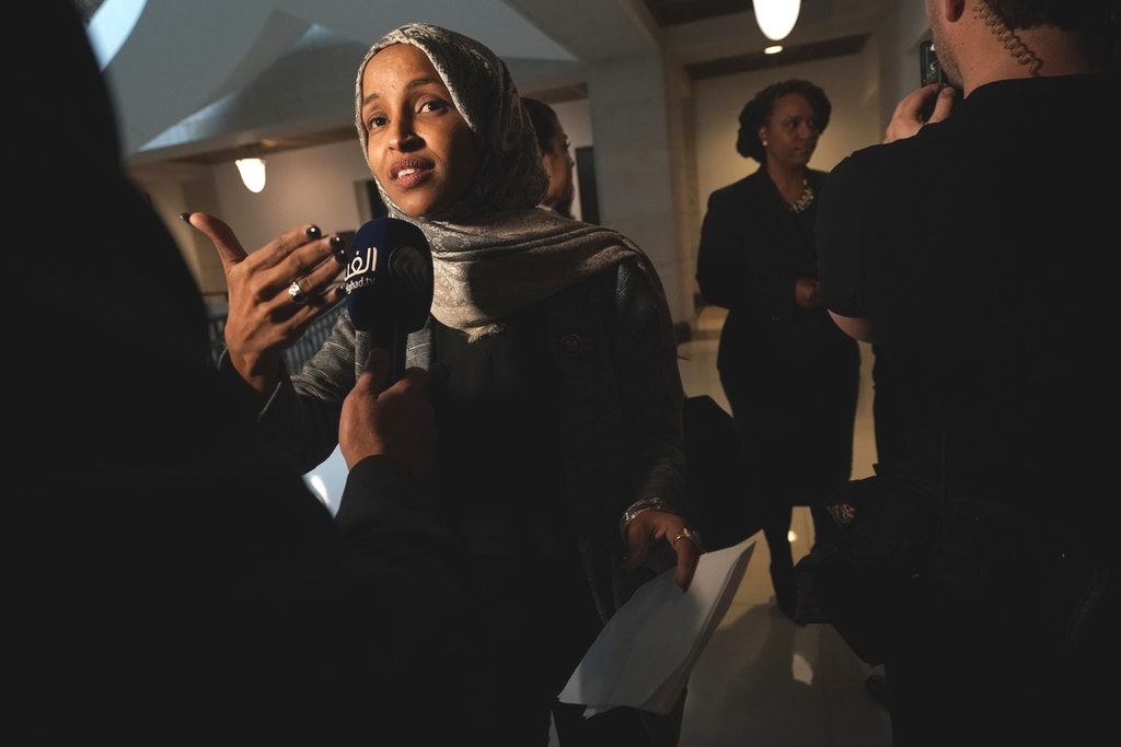 Rep. Ilhan Omar speaks to members of the media after a news conference on Capitol Hill on Jan. 24, 2019.  Photo: Alex Wong/Getty Images