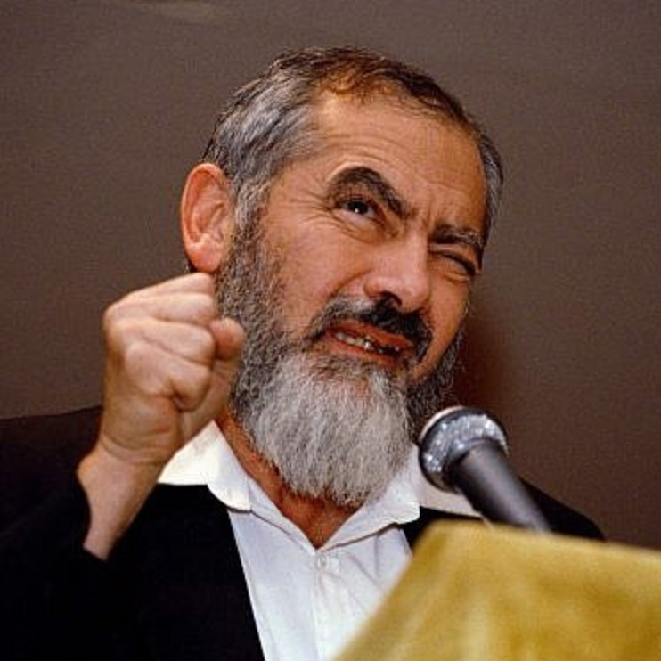Meir Kahane addresses a gathering at the Silver Springs Jewish Center in Maryland, October 27, 1988. (AP Photo/Doug Mills