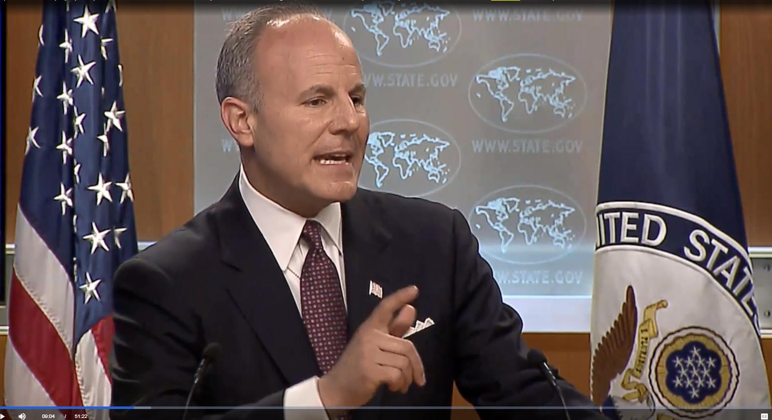 Elan Carr, United States Special Envoy to Monitor and Combat Anti-Semitism, at press briefing on April 11, 2019. Screenshot.