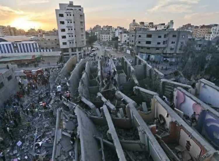 A building that was destroyed in Gaza in the recent Israeli attack
