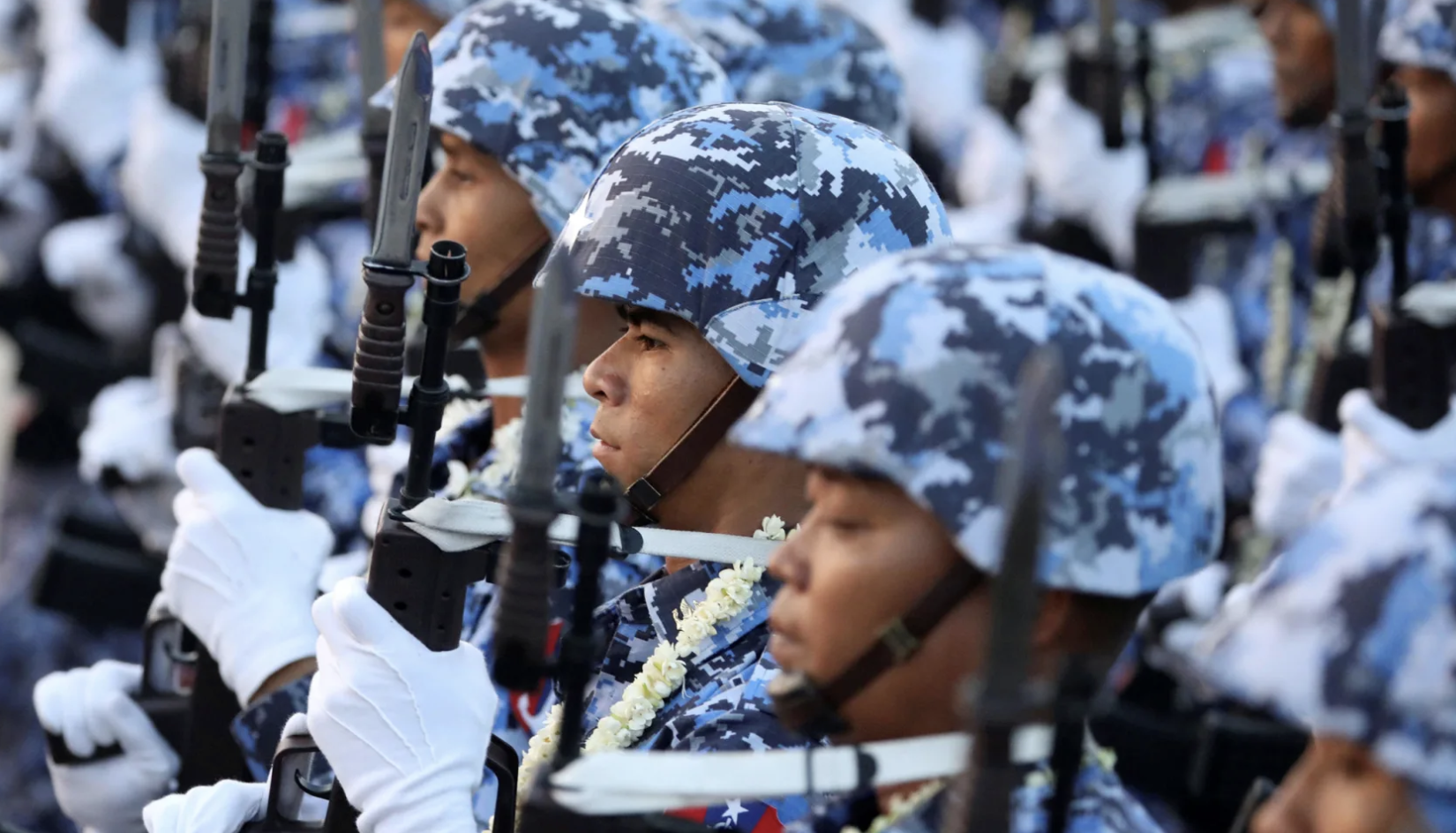 File photo: Soldiers take part in a military parade to mark the 74th Armed Forces Day in the capital Naypyitaw, Myanmar, March 27, 2019.Ann Wang/Reuters