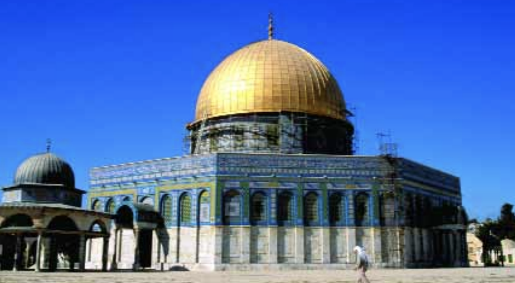 The Dome of the Rock is a major Muslim shrine built around 690. It sits on the Temple Mount in Jerusalem where Solomon's Temple and the second Temple from Christ's lifetime stood. According to some Christians it is also the site of the third and final Temple to be built before Christ's Second Coming.
