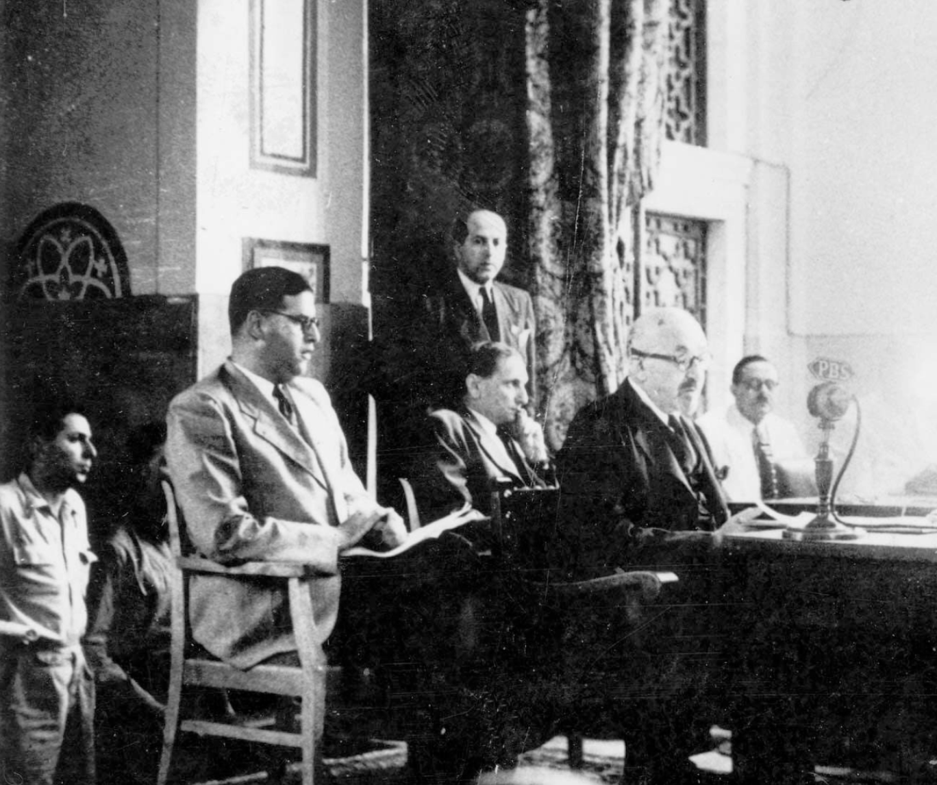 Chaim Weizmann giving his testimony to UNCSOP on July 8, 1947.