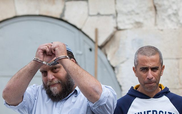 Bentzi Gopstein at the Jerusalem Magistrate's Court in Jerusalem on December 18, 2014, after his arrest on suspicion of inciting terrorism.(Yonatan Sindel/Flash90)