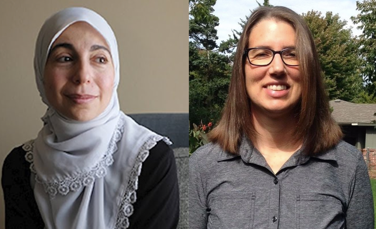 """Bahia Amawi (L) of Austin TX was terminated because she refused to sign an """"Israel Oath"""" as part of a contract renewal. Esther Coontz of Wichita KS was barred from being an instructor in Kansas' math teacher training program for the same reason."""