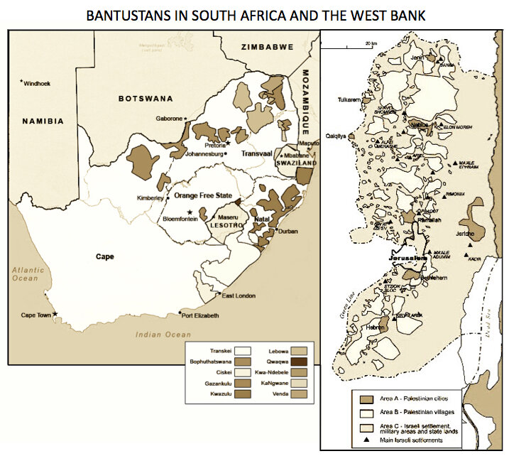 Comparison between the bantustans to which black South Africans were confined during that country's apartheid era and the fragmented communities that Palestinians have now in the West Bank, similarly created by systemic colonialism and racism – a system of apartheid. (From  Palestine Portal )