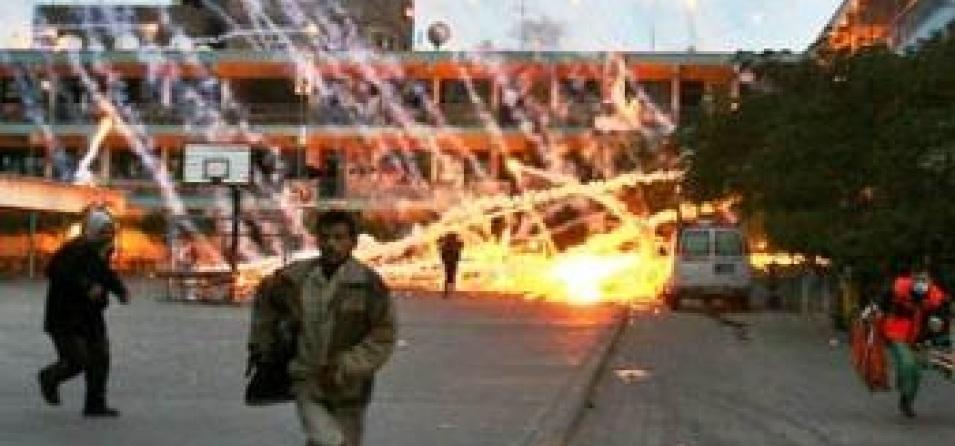 Israel targets an UNRWA-run school in Beit Lahiya, Gaza, with US-supplied white phosphorous munitions during 'Operation Cast Lead', January 17, 2009 (Iyad El-Baba/UNRWA)