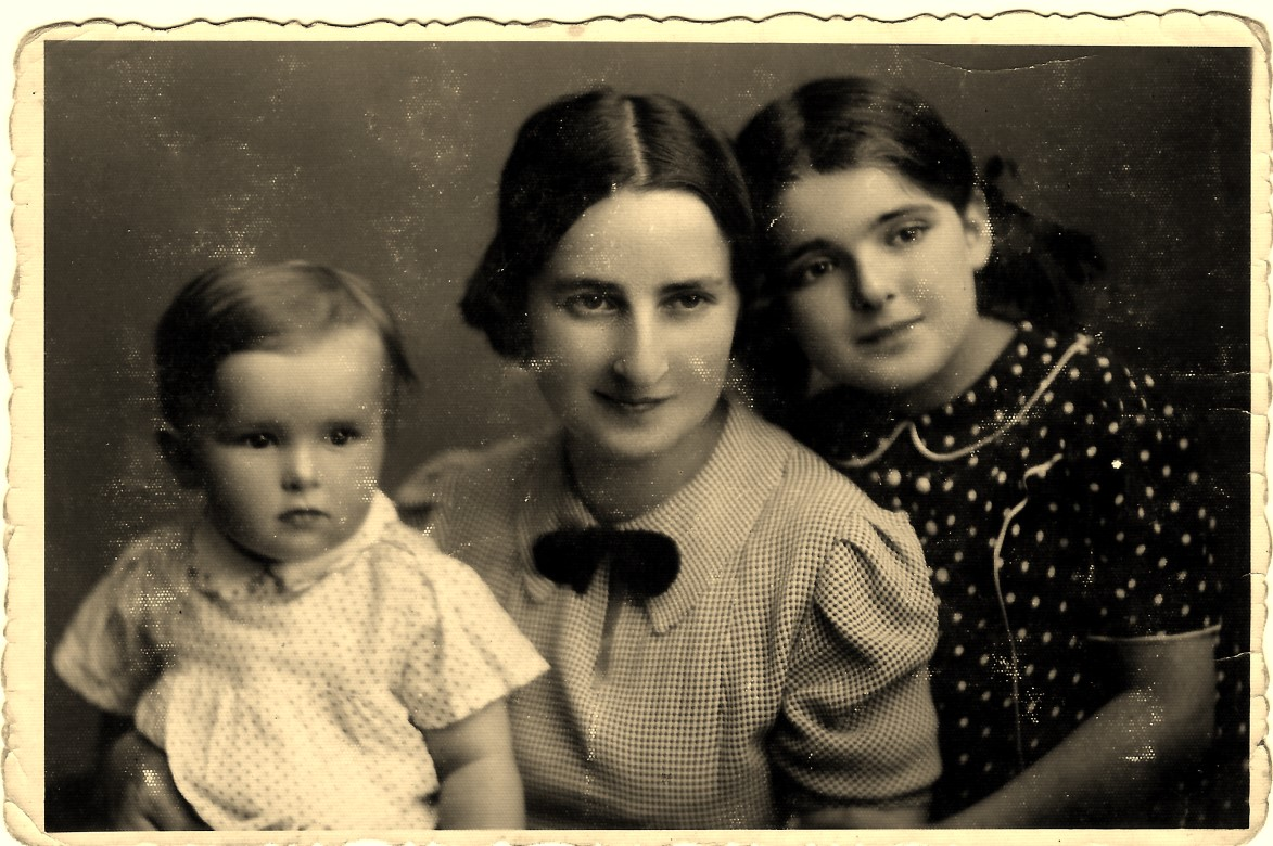 Zosia, Dora, and Ada Moskowski in pre-war Poland. This was Dora's passport photo. At the time, mothers were photographed with their children.